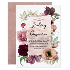 Shop Earthy Tones Burgundy Floral Vintage Wedding Invitation created by lovelywow. Personalize it with photos & text or purchase as is! Wedding Anniversary Invitations, Burgundy Wedding Invitations, Engagement Party Invitations, Vintage Wedding Invitations, Wedding Invitation Cards, Bridal Shower Invitations, Baptism Invitations, Wedding Stationery, Invites