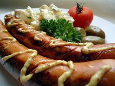 "LCHF-bloggen: Lavkarbo ""potetsalat"" (sellerirotsalat) Lchf, Sausage, Meat, Food, Sausages, Essen, Meals, Yemek, Eten"