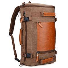 e2f2b3e5e9 WITZMAN Men Vintage Canvas Rucksack Travel Duffel Backpack Retro Hiking Bag  2063 (22inch Brown)