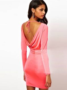 Sexy Lady Fashion Backless Long Sleeve Dress $7.69