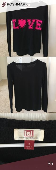 Cute black sweater Never worn this before. Great condition! lei Sweaters