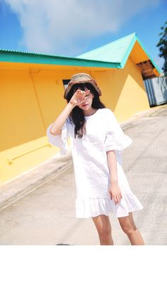 Frill Edge Casual Dress (Ivory) | STYLENANDA