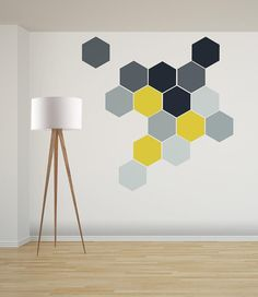 Ombre Honeycomb Wall Decal, Removable Geometric Stickers, Home & Office Wall Art Stick On Wood Wall, Wood Wall Art, Wood Walls, Office Wall Art, Office Walls, Geometric Wall Paint, Wall Paint Patterns, Bedroom Wall Designs, Diy Wall Painting