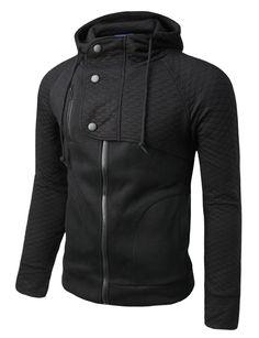 Mens Hood Zip Up Jacket with Quilting #doublju