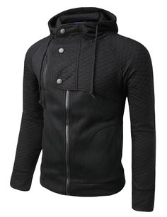 Mens Hood Zip Up Jacket with Quilting #doublju
