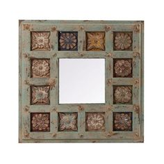 Pickled Green Square Mirror, 65cm