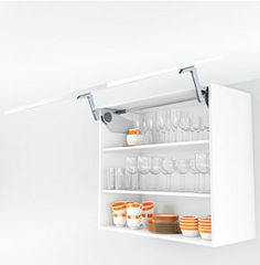 Functional cabinets for modern #kitchens: Wall cabinet with AVENTOS up and over lift system for crockery