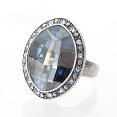 Bravo Ring - Impressive statement ring in Light Azore and Crystal Blue Shade Swarovski ELEMENTS. Antique silver plating; 1 1/4˝ long.  $72