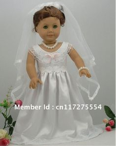 """Cheap doll wedding dress, Buy Quality dolls dresses directly from China doll baby clothes Suppliers:Fashion Doll clothes, Doll weddingdress fits for 18"""" American Girl Doll Clothes #F010, beautiful doll d"""