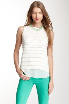 Vince Camuto Tiered Pleat Blouse
