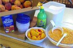 Make your own homemade Peach NO-COOK Freezer Jam.  Easy and yummy!