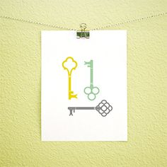 Free printable-skeleton key art! I just used this print to make a framed picture with our new house number!