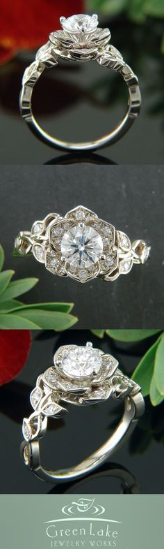 Lotus and vine inspired warm white gold engagement ring.