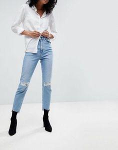 DESIGN - Farleigh - Jean mom slim à taille haute avec déchirures aux genoux  et effet rapiécé - Délavage vintage clair 248405c1338