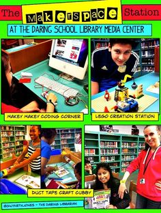 Makey Makey The hot new Makerspace Movement is NOT new to Murray Hill Middle School. Eighteen years ago we designed and opened the school with the id. Middle School Libraries, Elementary School Library, Elementary Schools, Library Skills, Library Lessons, Library Inspiration, Library Ideas, Kids Library, Free Library