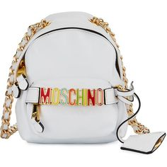 Moschino Mini Leather Backpack-Shaped Crossbody Bag ($895) ❤ liked on Polyvore featuring bags, backpacks, white pattern, mini backpack, leather cross body, white backpack, leather crossbody bags and moschino bags