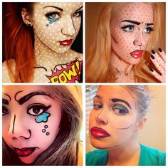 These comic book theme make up looks are so popular this year and they are so good they look fake!