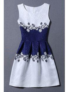 Jacquard Color Block Tank Dress BLUE AND WHITE: Summer Dresses | ZAFUL