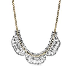 #Fossil Half Moon Pendant - Inspired by vintage glamour, our statement-making necklace features of a mix of traditional and modern influences with sparkling crystals, scalloped chains and opulent metallics.