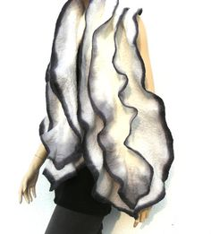 Felt ruffled scarf FREE SHIPPING merino wool   by MajorLaura