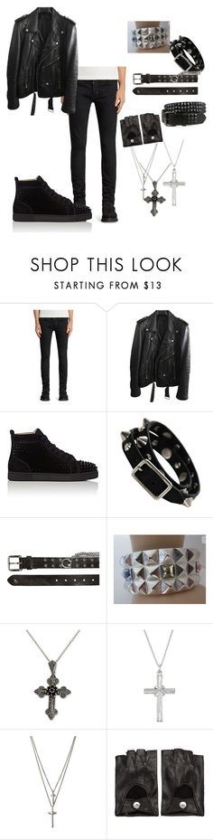 """Editorial"" by rodrigo-rocha on Polyvore featuring AllSaints, BLK DNM, Christian Louboutin, Hollywood Trading Company, NOVICA, Belk Silverworks, Eternally Haute, Ann Demeulemeester, men's fashion and menswear"