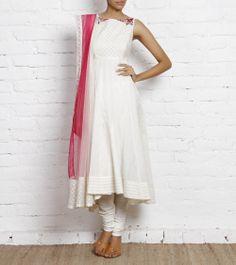 Ivory Chanderi Cotton Churidar Suit