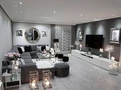 Elegant Minimalist Living Room is unconditionally important for your home. Whether you pick the Minimalist Living Room Photos or Minimalist Living Room India, you will create the best Apartment Therap Cozy Grey Living Room, Silver Living Room, Glam Living Room, Living Room Photos, Elegant Living Room, Elegant Home Decor, Living Area, Living Spaces, Living Room Flooring