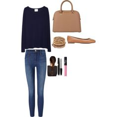 A fashion look from September 2015 by lalmosawi featuring La Garçonne Moderne, Frame Denim, Tory Burch, Chan Luu and NARS Cosmetics