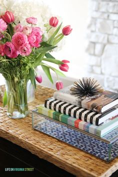 Books used in coffee table styling