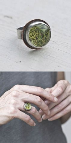 Moss Terrarium Ring with Copper ( Etsy:: http://www.etsy.com/listing/32275981/sterling-15-mm-moss-terrarium-ring-with )