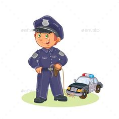 Vector Icon of Small Child Policeman