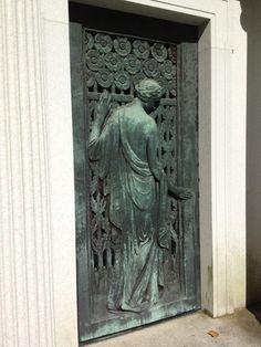 A beautiful art nouveau / deco verdigried mausoleum door at West Laurel Hill Cemetery in Bala & Close-up of the Nax mausoleum door at West Laurel Hill Cemetery in ... Pezcame.Com