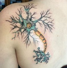 watercolor motor neuron tattoo by  Micah Riot.