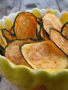 Zucchini Chips - Bake at 425 for 15 min. Dip in salsa. Baked Zucchini Chips - Thinly slice zuchini, spread onto baking sheet, brush with olive oil, sprinkle sea salt.