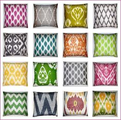 LOTS of silk ikat pillows! There is an ebay seller who does sets of 2 for $40...
