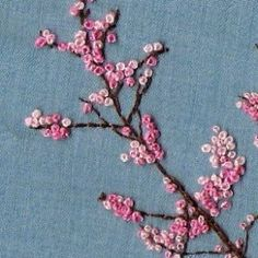 All about embroidery! Embroidery applique, cute embroidery, embroidered shirts, embroidering machine, embroidery clothes and more. French Knot Embroidery, Cute Embroidery, Silk Ribbon Embroidery, Cross Stitch Embroidery, Embroidery Patterns, Flower Embroidery, Embroidery Digitizing, Embroidery Thread, Embroidery Supplies