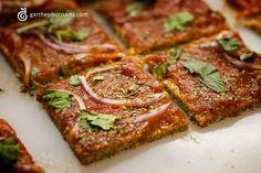 RAW BUCKWHEAT GROATS PIZZA recipe from http://michellegoesveggie.wordpress.com/2011/09/04/raw-buckwheat-groats-pizza/.