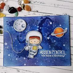 card space journey austronaut moon planet stars night galaxy sky inked MFT Space Explorer Die-namics inked background, over the moon, star Boy Cards, Kids Cards, Diy Galaxy, Interactive Cards, Kids Birthday Cards, Mft Stamps, Space Theme, Card Making Inspiration, Card Maker