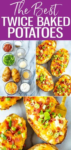 These Ultimate Twice Baked Potatoes are just like the ones you get at a steakhouse - they're stuffed with bacon, cheddar, scallions and sour cream. #twicebakedpotatoes Fall Recipes, Great Recipes, Best Twice Baked Potatoes, What To Cook, Winter Food, Original Recipe, Vegetable Recipes, Sour Cream, Cheddar