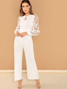 Shop Applique Sheer Sleeve Keyhole Front Jumpsuit at ROMWE, discover more fashion styles online. Jumpsuit Outfit, Casual Jumpsuit, White Jumpsuit Formal, Elegant Jumpsuit, Dress Ootd, Jumpsuit Elegante, Hijab Fashion, Fashion Dresses, Fashion Styles