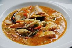 Albertos Fischsuppe Albertos fish soup (recipe with picture) from caralb Fish Recipes Healthy Tilapia, Shrimp Recipes, Salmon Recipes, Asian Recipes, Soup Recipes, Vegetarian Recipes, Dinner Recipes, Healthy Recipes, Ethnic Recipes
