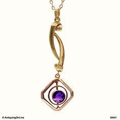 10K Retro Purple Amethyst Pendant Necklace Vintage Modernist 10K Gold Lavalier Pendant Necklace