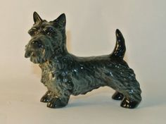 Vintage Goebel Scottish Terrier  This Vintage Goebel Scottish Terrier has a gorgeous glossy finish and great detailing of the dog's fur, accomplished by both texture and shading of black and gray. CLICK NOW TO ORDER!!
