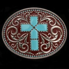 Montana Silversmiths Women's Filigree Cross Buckles Turquoise