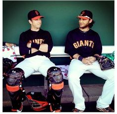 6/14/13. I just love this picture of BUSTER POSEY and BRANDON CRAWFORD, just sitting in the dugout --- perhaps smiling over some inside joke.  They really look like 2 kids that just love to play baseball.  In fact, they're two of the best players in the world at their respective positions.