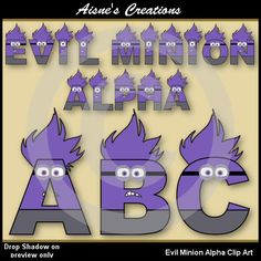 Evil Minions Alphabet Clip Art - Matching numbers also available