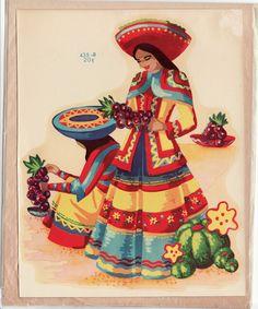 Vintage Meyercord Decal Mexican Women in Big Hat Fiesta Colors