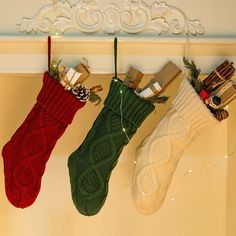 14.57'' Christmas Stockings, Personalized Cozy Cable Knit Hanging Stocking Christmas Gift Bag for Indoor Christmas Decor in White - Walmart.com - Walmart.com Christmas Stocking Holders, Christmas Gift Bags, Burlap Christmas, Christmas Tree Ornaments, White Christmas, Xmas, Knit Stockings, Knitted Christmas Stockings, Christmas Knitting
