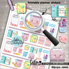 Planning Stickers, Printable Planner Stickers, Planner Stickers, Erin Condren, Kawaii Stickers, Notebook Stickers, Planner Accessories, Cute