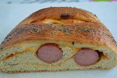 Mi Diversión en la cocina: Pan de briox relleno de frankfurt